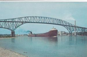 Steamer Passing The Blue Water International Bridge,  Sarnia,  Ontario,  Cana...