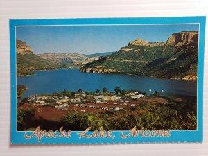 Vintage Postcard Apache Lake Arizona 1988 marina motel restaurant unposted