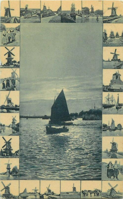 Holland dutch sceneries mills sailing vessel 1908 postcard