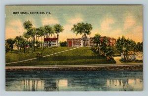 Skowhegan ME-Maine, Riverview of High School Skowhegan Maine ,Linen Postcard