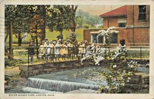 CANTON OH-CHILDREN PLAYING AT WATER WORKS PARK 1921  POSTMARK POSTCARD