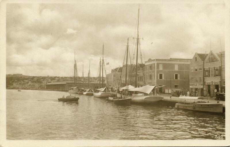 curacao, WILLEMSTAD, View of the Harbour, Baratillo, Casa Rosada (1936) RPPC