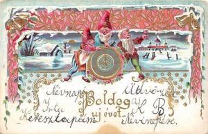 Embossed: Boldog uj evet! Happy New Year! Fantasy, dwarfs, ice skating