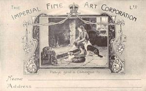 Woman with Dogs Imperial Fine Art Corp Advertising Antique Postcard J72953
