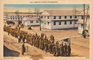 Soldiers  Lined up in front of Barracks