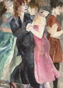 David Remfry Dancers 1989 Lesbian Gay Interest Painting Postcard