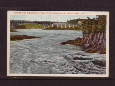 Bridge & Reversing Falls, St John, NB early colour PC