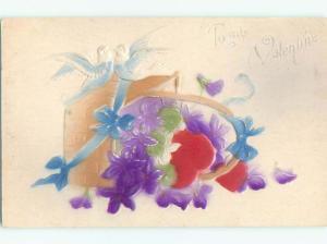 Pre-Linen valentine ART NOUVEAU - EMBOSSED BIRDS ON SPILLED FLOWER BASKET k5633