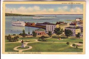 The Harbor and City, Boats, Mackinac Island, Michigan, GH Wickman