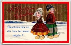 1913 Postcard Dutch Boy & Girl Christmas time iss der Time for Kisses Maybe?