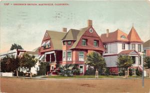 Marysville California~Residence Section~Victorian Houses~1910 Postcard
