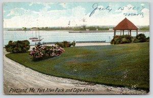Portland Maine~Fort Allen Park~Cape Shore~Drive Around Waterfront~Gazebo~1907