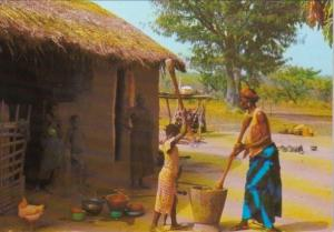 Chad Village Scene Preparation Of A Meal