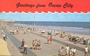 Greetings from Ocean City NJ, New Jersey - Boardwalk and Beach