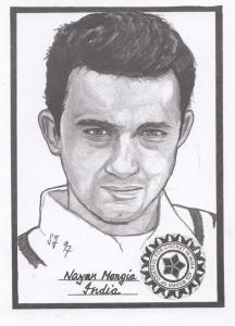 Nayan Mongia Cricket Artist Drawing Limited Edn of 500 Postcard