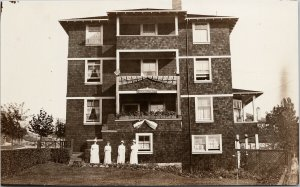 Women Nurses ?? at Osborne Court Building Unknown Location RPPC Postcard E71