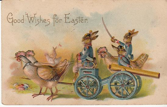 Easter Bunny Soldiers with Cannon 1913