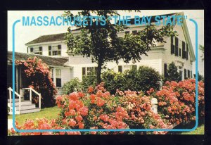 Chatham, Massachusetts/MA Postcard, Roses In Bloom Before Cape Cod House