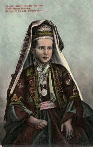 Jeune femme de Bethlehem , Turkey , 1900-10s ; Costumes de villageois