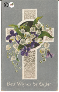 Vintage Postcard White Lace Cross with White Lily of the Valley /Purple Violet