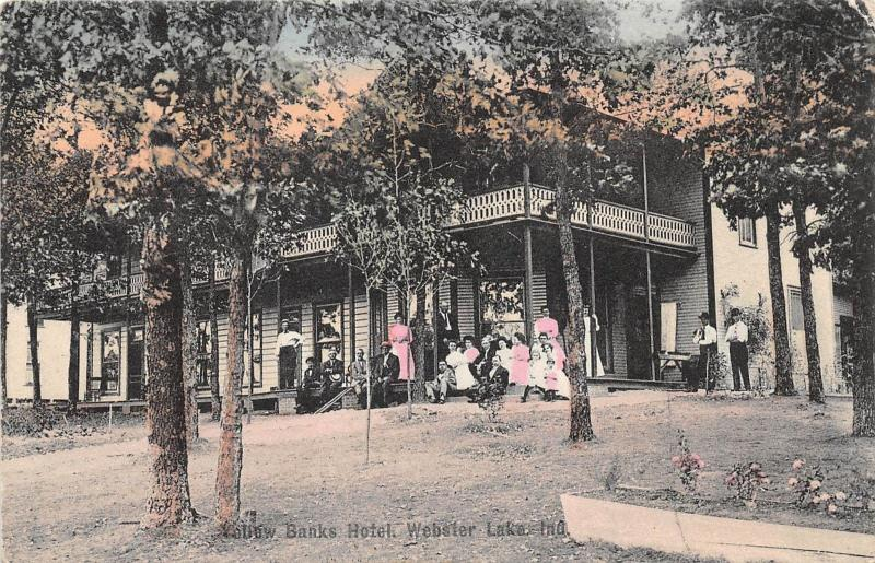 E40/ Webster Lake Indiana In Postcard 1909 Yellow Banks Hotel Porch People