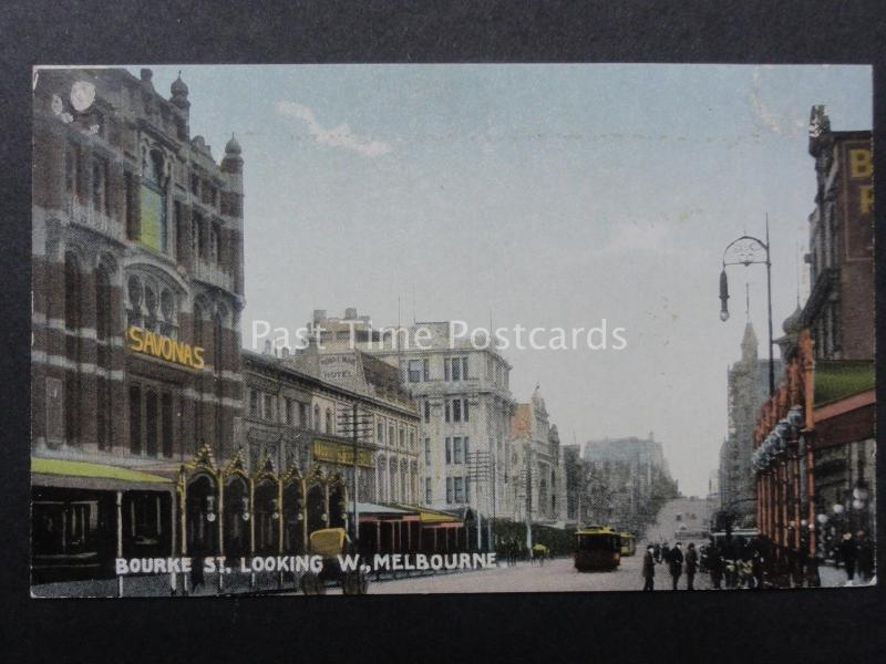 Australia MELBOURNE Bourke Street shows SAVONAS Old Postcard by R.E.M.