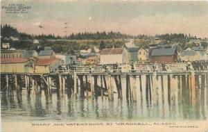 1911 Wharf Waterfront Wrangell Alaska Postcard hand colored Pacific Coast 13544