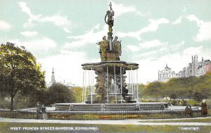 Fountain, West Princes Street Gardens Edinburgh Postcard Unused