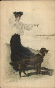 Clarence Underwood Beautiful Woman & Setter or Pointer Dog c1910 Postcard