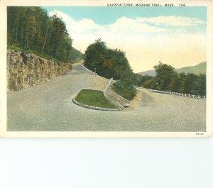 Hairpin Turn, Mohawk Trail, MA Vintage Postcard
