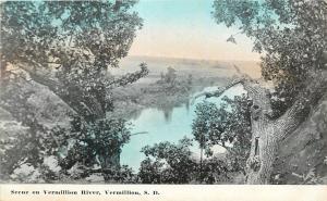 Vermillion South Dakota~River Blue Waters, Sky~Gnarly Trees~1910 Postcard