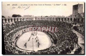 Old Postcard Arles Arenes the Bulls a race day Paseo Bullfight