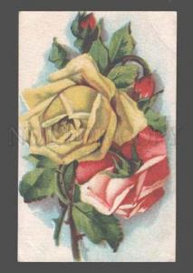 083630 Yellow & Pink ROSES Bouquet by KLEIN Vintage Russian PC