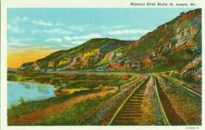 Missouri River Bluffs, Burlington Railroad Main Line, St Joseph Linen Postcard