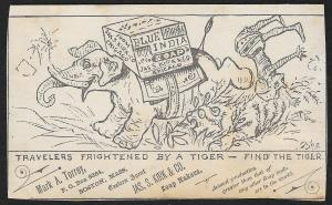 VICTORIAN TRADE CARD JS Kirk Blue India Soap Elephant & Rider Find Tiger Puzzle
