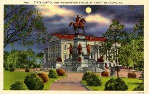 VA - Richmond. State Capitol & Washington Statue at Night
