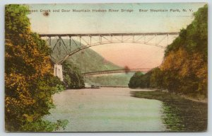 Bear Mountain Park New York~Popelopen Creek & Hudson River Bridge~1929 Handcolor