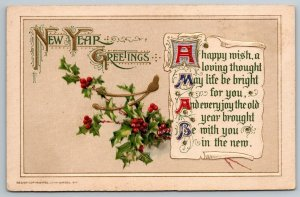 New Year~Calligraphy Poem Parchement~Holly Berry~Embossed John Winsch 1912
