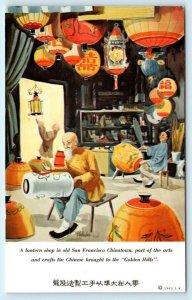 SAN FRANCISCO, Chinatown KAN'S CHINESE RESTAURANT Art Lantern Shop 1963 Postcard