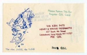 QSL Radio Card From Lindenhurst Long Island New York KBN 9470