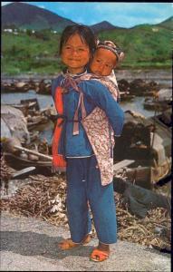 china, HONG KONG, Native Girl with Baby Brother (1960s)