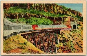 1940s Arizona Postcard Santa Fe Streamliner Johnson's Canyon FRED HARVEY H-4577