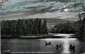 On The East Branch Montreal River Temagami Ontario ON Canoe Antique Postcard D45