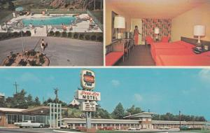 BREEZEWOOD, Pennsylvania, 50-60s; Penn Air Motel, Room, Entrance & Swimming Pool