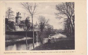 Le Chateau Et l'Eglise, Vue Prise Au Sud Aux Bords De La Vie, Apremont-sur-...
