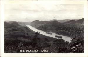 Ships in the Panama Canal Birdseye Real Photo Postcard