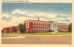 SPRINGFIELD, Massachusetts MA   NEW TRADE SCHOOL  c1940's Tichnor Linen Postcard