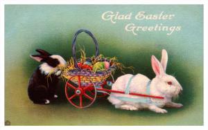 1682  Easter   Rabbit pulling wagon