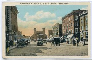 Washington Street B&M Railroad Depot Salem Massachusetts 1920c postcard