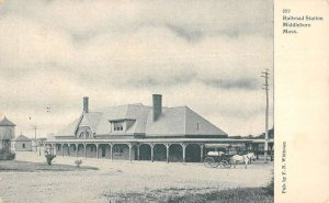 Middleboro Massachusetts Railroad Station Exterior Vintage Postcard KK222
